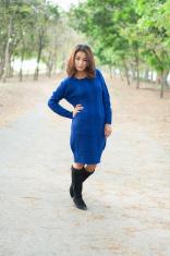 Beautiful girl in blue show fashion concept