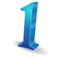 3d Glossy 1 one Number Vector