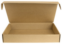 Open cardboard box with a lid
