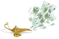 Money fly out of magic lamp