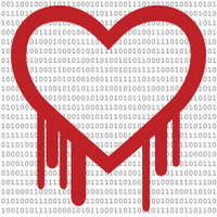 Heartbleed Bug, Heart shape with red bleed & Binary Code