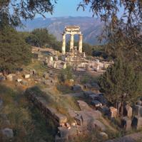 Delphi, Greece Archaeological Site Near Sunset