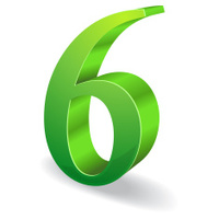 3d Glossy 6 Six Number Vector