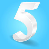 3d Glossy 5 Five Number Vector