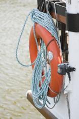Naval life buoy on a ship