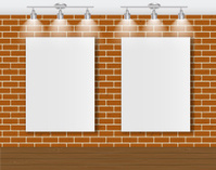 Frame on Brick Wall for Your Text and Images, Vector