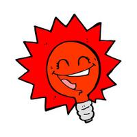 happy flashing red light bulb cartoon