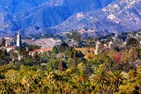 Mission Santa Barbara Mountains Palm Trees California