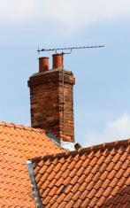 Tv aerial on old chimney