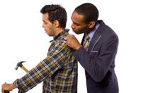 Nosy Boss Annoying a Blue Collar Handy Man