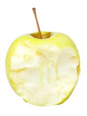 half of yeloow golden delicious apple