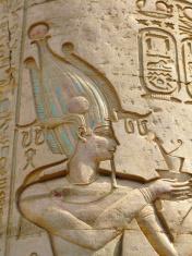 Kom Ombo archaeological site, Egypt: relief of the Pharaoh