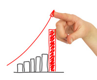 Hand pointing to the growing graph