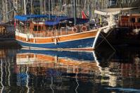 Boat at sunrise  in the harbor at Fethiye, Turkey