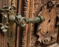 An ancient doog handle at castle door