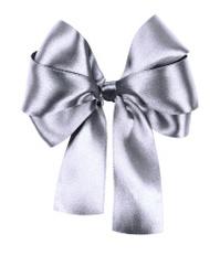 gray bow made from silk ribbon