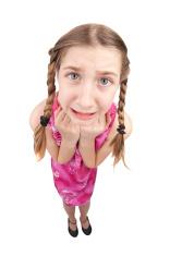 Anxious Fisheye Young Girl