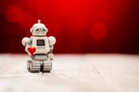 Robot in Love - Heart Valentine's Day Background Retro