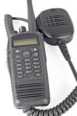 Black compact professional portable radio set.