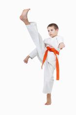 Boy is a beating a high kick leg