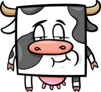 square cow cartoon illustration