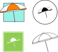 beach umbrella mixed vector set
