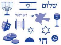 Jewish holidays icon set