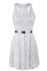 White lace dress with silver belt