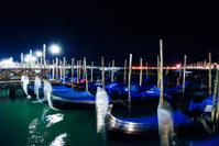 Venice gondolas at night