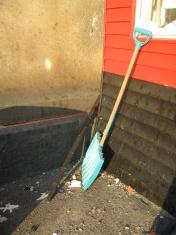 shovel and wall