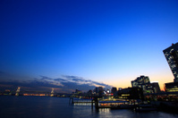 Night View of Tokyo port, Waterbus Stations, and Rainbow Bridge