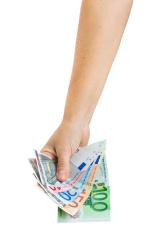 hand with euro money