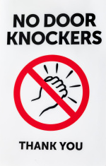 Sign Stating No Door Knockers Thank You