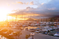 Yacht marina at sunset. Montenegro.