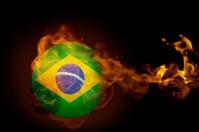 Fire surrounding brasil ball