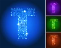 Letter T on Blue Circuit Color Set
