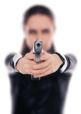 Woman Spy Aiming Gun
