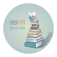 Rabbit on a Pile of Books - Error 404