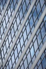 Geometric pattern of windows on glass facade