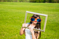 The girl with a frame
