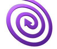 Arrow on white. Spiral shape