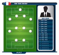 Football background, team info charts and manager. Vector illust