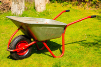 Gardening. Garden metal wheelbarrow.