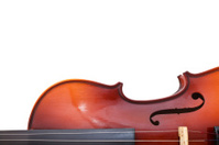 copyspace and half of classical wooden violin
