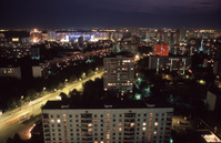 Panorama of suburb at night, Moscow