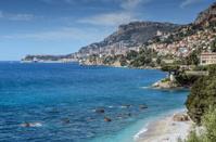Cote d'Azur View of Monaco from Roquebrune-Cap-Martin beach