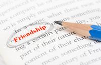 Pencil circle highlight on friendship word