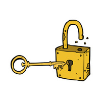 caroon rusty old padlock
