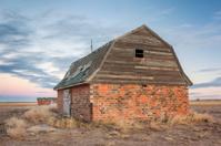 abandoned brick barn