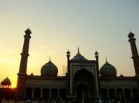 Silhouette of Jama Masjid at sunset, Delhi